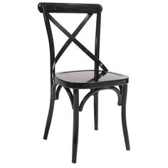 The Classic X Back Metal Chair has a modern design that will grace any restaurant or establishment. The wide seat adds comfort and inherent beauty to this design.  Comes with a standard black finish and non-marring butyrate glides to protect the floor. The chair's strong metal frame ensures you will get many years of use from this chair.