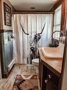 our bathroom westernbathroom bohobathroom highlander dirtyhippie Cheap Home Decor, Western Bathroom Decor, Western Bathrooms, Western Home Decor, House Interior, House Bathroom, Home, House, Home Remodeling