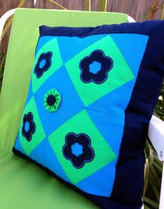 Blue Patchwork Decorative Cushion Cover Size by AddaSplashofColour
