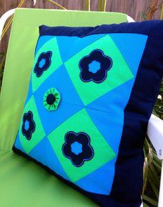 Blue Patchwork Decorative Cushion Cover Size by AddaSplashofColour