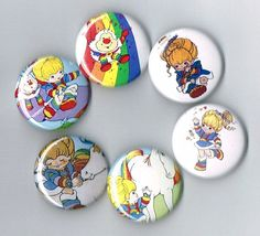 "Rainbow Brite One Inch Pin Back Pinback Button Badge 1"" Set of 6 Six Twink Sprite Starlite"