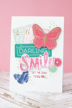 Hello Darling - Fröhlich bunte Karte || Cardmaking || Card with the Serendipity Collection from Dear Lizzy   #cardmaking #dearlizzy #serendipity #karte #handgemacht #ssswchallenge