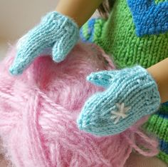 Beneath the Rowan Tree: Mittens for the Dolls :: Stay Warm (Free Knitting Patter. : Beneath the Rowan Tree: Mittens for the Dolls :: Stay Warm (Free Knitting Pattern) Barbie Knitting Patterns, Knitting Dolls Clothes, Ag Doll Clothes, Crochet Doll Clothes, Knitted Dolls, Doll Clothes Patterns, Crochet Dolls, Doll Patterns, Crochet Baby