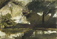 Andrew Wyeth (1917-2009) Hoffman's Barn (1959) watercolor