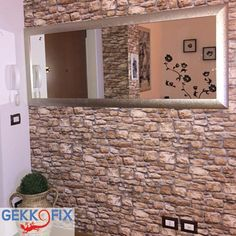 Create your own look with our self adhesive foil --> Stone wall. Get inspired & get creative! #DIY #Gekkofix #Wall