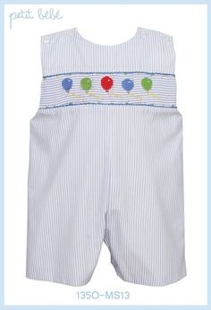 Light Blue Striped Shortall (Jon Jon) with Smocked Balloons for Baby and Toddler Boys by Petit Bebe - For Birthday or Everyday