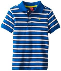 Izod Little Boys' Short Sleeve Striped Pique Polo, Snorkel, Medium