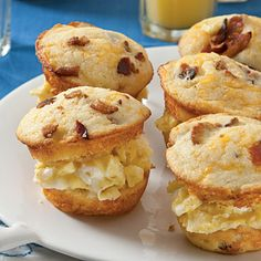 These breakfast sandwich sliders, made with Bacon-and-Cheddar Corn Muffins, will be the talk of your next brunch!