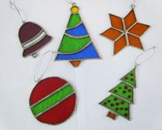 Stained Glass Christmas Ornaments  Suncatchers  Set of  by Tocasol, €34.00