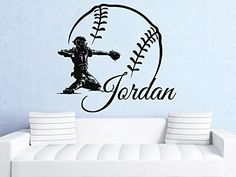 Wall Decals Custom Personalized Name Decal Baseball Bat Baseball Player Ball Vinyl Sticker Gym Boy Bedroom Nursery Baby Room Home Decor Ms669 ** Want additional info? Click on the image.