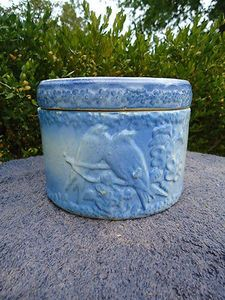 Rare Blue and White Stoneware Lovebirds Butter Crock with Lid  gramma Elisa had one identical to this. She used it for butter.