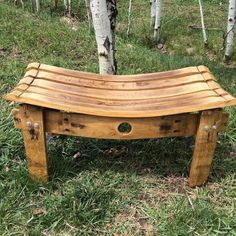 This bench is made from a repurposed wine barrel. The one I have in stock is make them from red wine barrel. The bench has several coats of outdoor polyurethane and can be used inside or outside. The bench is 18 inches tall, 35 inches wide, and 15 inches deep.