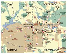 map of the four corners area of Utah, Colorado, Arizona & New Mexico also the location of the four corners monument. Rio Grande, Four Corners Monument, Utah, Four Corners Usa, Have A Great Vacation, Vacation Ideas, Road Trip Map, Road Trip To Colorado, Southwest Usa
