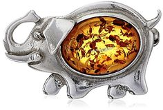 Sterling Silver Honey Amber Elephant Pin * Details can be found by clicking on the image.
