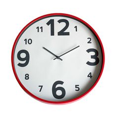 Elements Red Plastic Clock   Dunelm