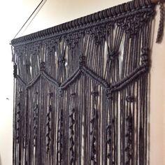 CHARCOAL Handmade macrame wall hanging 60cm x 80 by GypsyAndLily