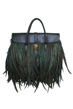LARGE FEATHER ATTACHE TOTE IN BLACK