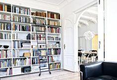 Interior: house of textile designer Hanging Canvas, Textile Design, Bookshelves, Interior And Exterior, Gallery Wall, Minimalist, Layout, Architecture, Storage