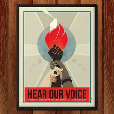 Women's March Protest Poster – Hear Our Voice by Ninboy Protest Art, Protest Posters, Protest Signs, Trump Protest, Marie Claire, Political Art, Political Posters, Red Aesthetic, Oeuvre D'art