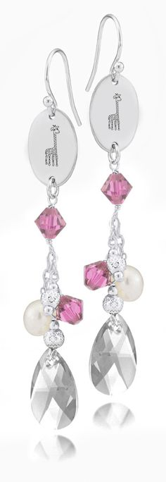 Alpha Epsilon Phi Symbol Pink Crystal and Freshwater Pearl Earrings