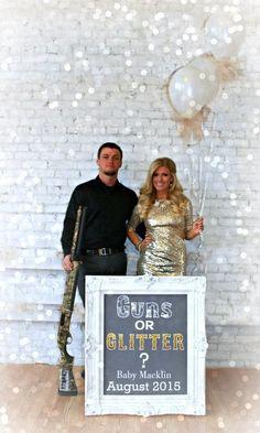 Baby Announcement Guns or Glitter #pregnancyannouncementideas, #pregnancyannouncementtoparents,