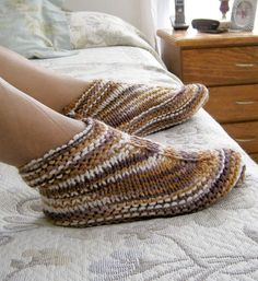 Free Knitting Pattern for Easy Desert Boots Slippers - These easy slippers are are knit flat on straight needles. Shared by Elise Brand from a pattern by her aunt. Rated very easy by Ravelrers. Pictured project by flyingcat