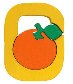 Montessori wooden puzzle letter Orange made by hand by Ludimondo
