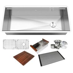 All-in-One Series Undermount Stainless Steel 42 in. Single Bowl Kitchen Sink in Brushed Finish with Accessories, Brushed Stainless Steel Finish Refinish Kitchen Cabinets, Kitchen Cabinet Doors, Kitchen Sinks, Kitchen Redo, Kitchen Remodel, Kitchen Ideas, Solid Surface Countertops, Double Bowl Kitchen Sink, Drain Cover