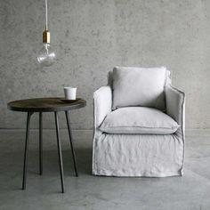Home@Home fauteuil Tjep, gewassen linnen, licht grijs | Home at Home