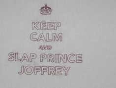 Keep calm and slap Prince Joffrey, handmade and embroidered calico, eco friendly large tote bag