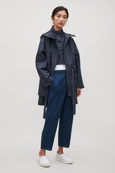 COS image 5 of Hooded canvas coat in Steel Blue