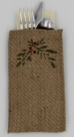 Holly Burlap Silverware Pouch - Set of 8
