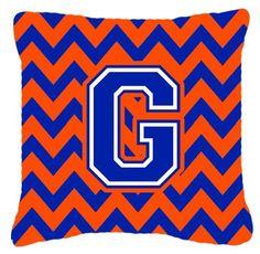 Letter G Chevron Orange and Blue Fabric Decorative Pillow CJ1044-GPW1414
