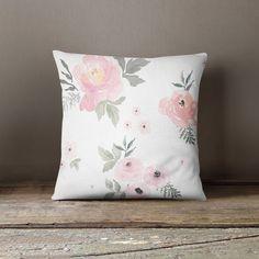 Sweet Blush Roses Throw Pillow