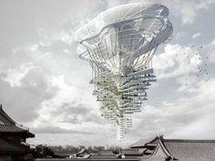 Parque aéreo em Pequim, projeto de design inscrito no concurso da e-Volo