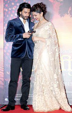 Ranveer Singh with Deepika Padukone at the first look launch of 'Ram Leela' Bollywood Couples, Bollywood Stars, Bollywood Celebrities, Bollywood Fashion, Bollywood Actress, Deepika Ranveer, Ranveer Singh, Deepika Padukone, Indian Look