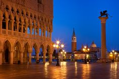 Pre-dawn at Doges Palace in Piazza San Marco, Venice Italy