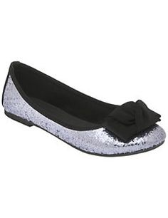 1c878651072 Glitter ballet flat with bow Wide Width Shoes