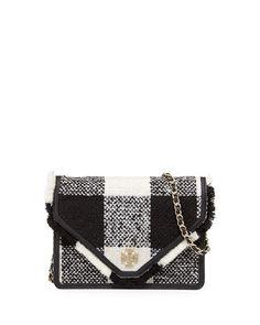 V2MSE Tory Burch Kira Tweed Crossbody Bag, Black / White