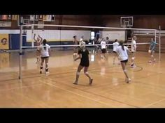 ▶ Volleyball warmup drill: 4-man passing volleyball drill - YouTube