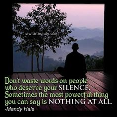 don't waste words on people who deserve your silence. sometimes the most powerful thing you can say is nothing at all. –mandy hale |