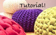 I could knit that....... Super Chuky Knit Pouf Pattern - Downloadable PDF TUTORIAL