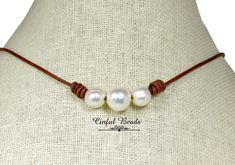 Pearl and Leather Necklace, Graduated Freshwater Pearl Necklace, Minimalist Pearl Necklace, Boho Pearl and Leather Choker by CinfulBeadCreations on Etsy