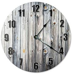 """WHITE BROWN KNOT BOARDS CLOCK - Large 10.5"""" #2177"""