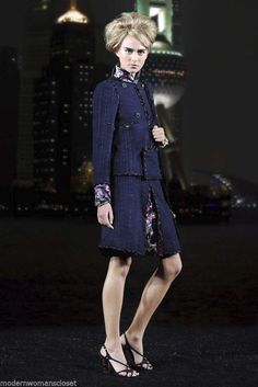 RARE Chanel 10A Classic Tweed Suit Jacket Skirt Blazer 34 NEW Navy Blue Coat #Chanel #SkirtSuit
