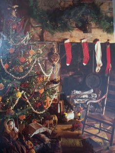 From Time-Life's American Country Book, Country Christmas. I love that even in this very old home the stockings were hung by the chimney with care. Check out those antique toys under the tree, too! Primitive Christmas Decorating, Primitive Country Christmas, Cabin Christmas, Christmas Scenes, Christmas Past, Rustic Christmas, Simple Christmas, Beautiful Christmas, Winter Christmas
