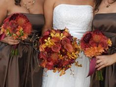 Fall Wedding Bouquet - good colors for the bridesmaid bouquets, I'd switch out for some other flowers.
