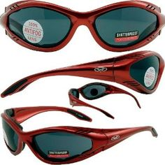 6fba2ff8be5c Jack Flash Foam Padded Motorcycle Sunglasses Red Frame Smoke Lenses by  Global Vision.  21.85.