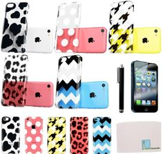 Llamamia Set of 5 Pattern Hard Clear Cases Covers Protectors for Apple Iphone 5C + Stylus Pen + Screen Protector + Cleaning Cloth in Retail Packaging (Animal Cow,houndstooth,white Dot,leopard,Zzag) Llamamia http://www.amazon.com/dp/B00GB1K1K6/ref=cm_sw_r_pi_dp_iMNcub1E4RBQW