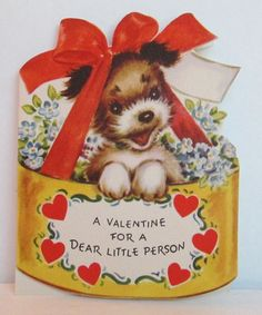 Vintage+Rust+Craft+Valentine+Greeting+Card+Adorable+Puppy+Dog+In+Basket,+Die+Cut